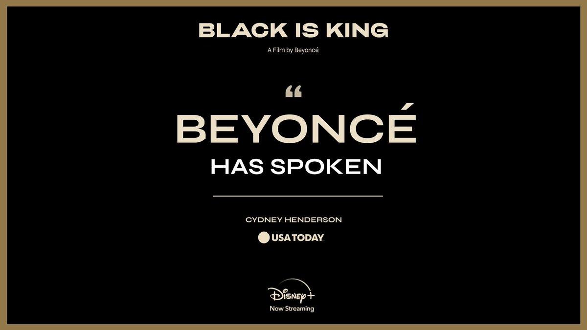 """Beyoncé has spoken."" #BlackIsKing, a new visual album from @Beyonce, is now streaming on #DisneyPlus."