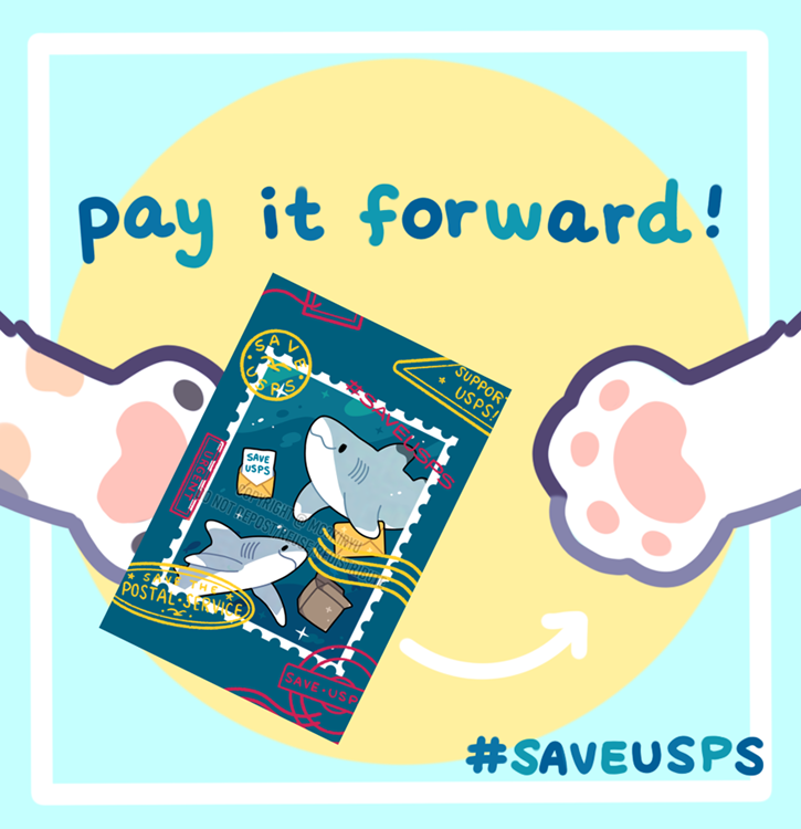 {RTS 🦈} one of my patrons asked if it was possible to purchase postcards & have me send them to people who cant afford them so I started up a pay-it-forward program for my #SAVEUSPS postcards! You can request a free postcard by filling out this form: docs.google.com/forms/d/e/1FAI…