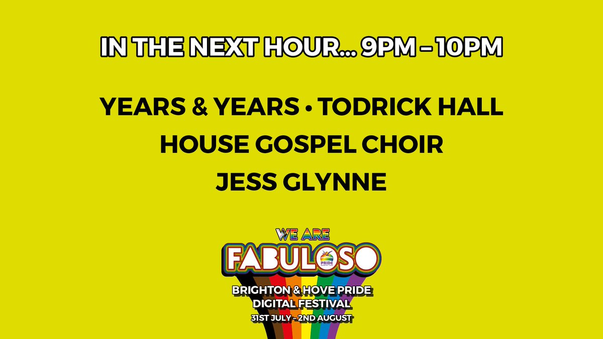 We don't have any events in the City this weekend, but you can come and join our Digital Pride Festival – We Are Fabuloso. In the next hour, 9pm-10pm:  @yearsandyears @todrick @HouseChoir @JessGlynne & more Streaming NOW: https://t.co/tLorVeo9A6 https://t.co/9Ir6ebGuf7