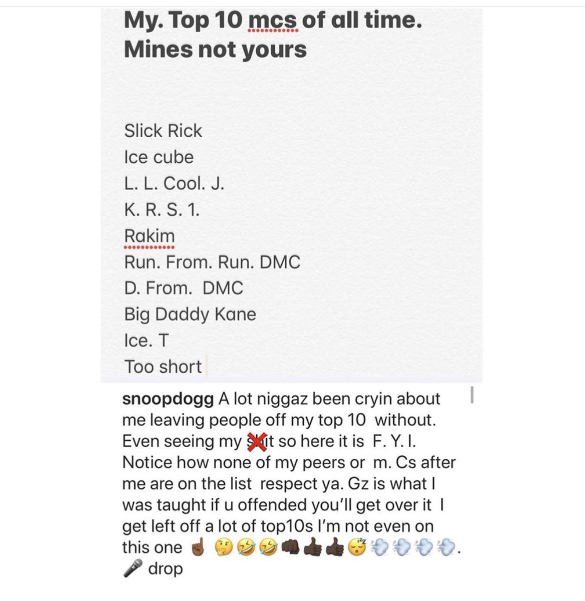 #SnoopDogg reveals his Top 10 of all time! 👀 @SnoopDogg