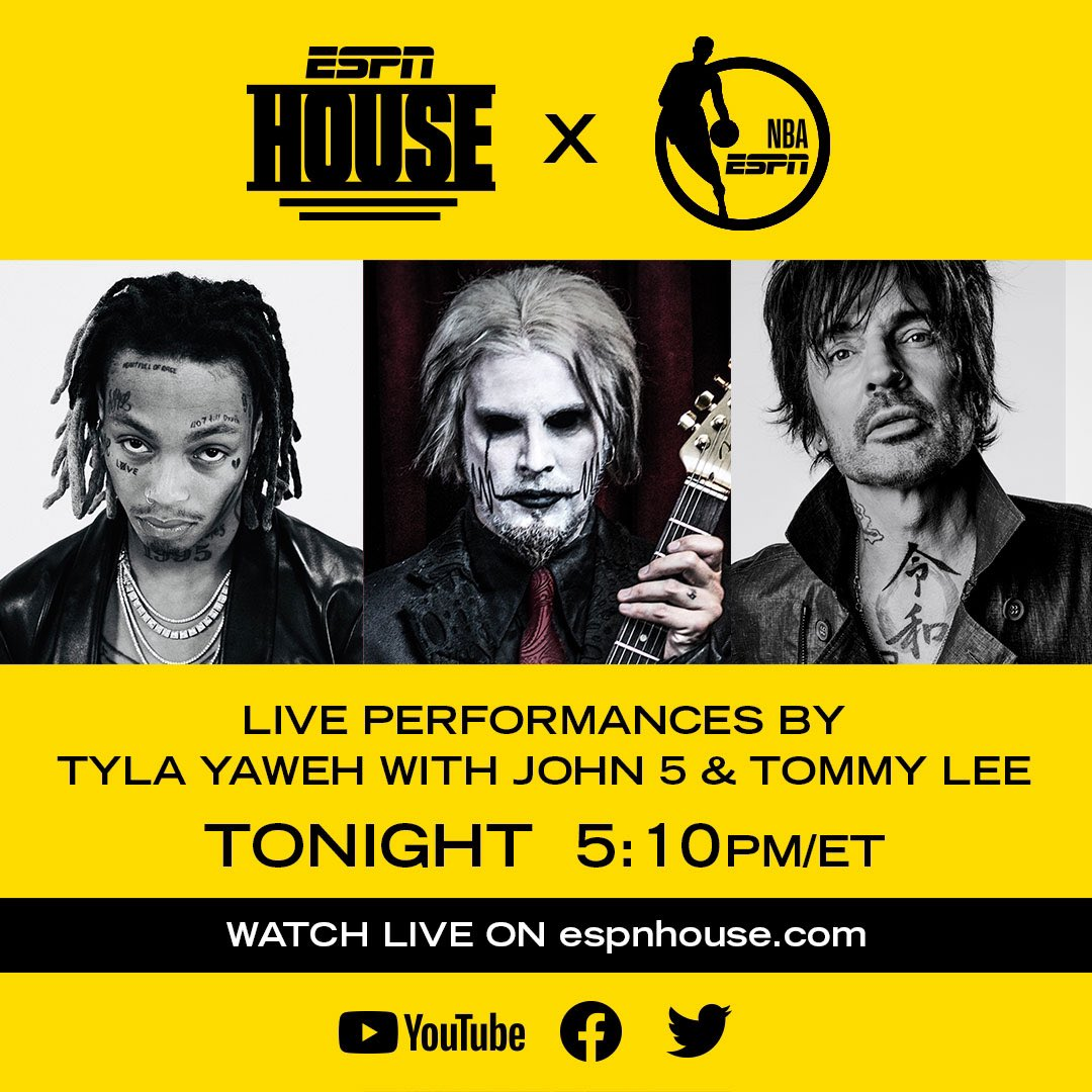 Join me and ESPN House for a live performance before Hoop Streams on YouTube live, Facebook, and Twitter! Come celebrate the return of the NBA on @espn !! https://t.co/htNUawrEIg