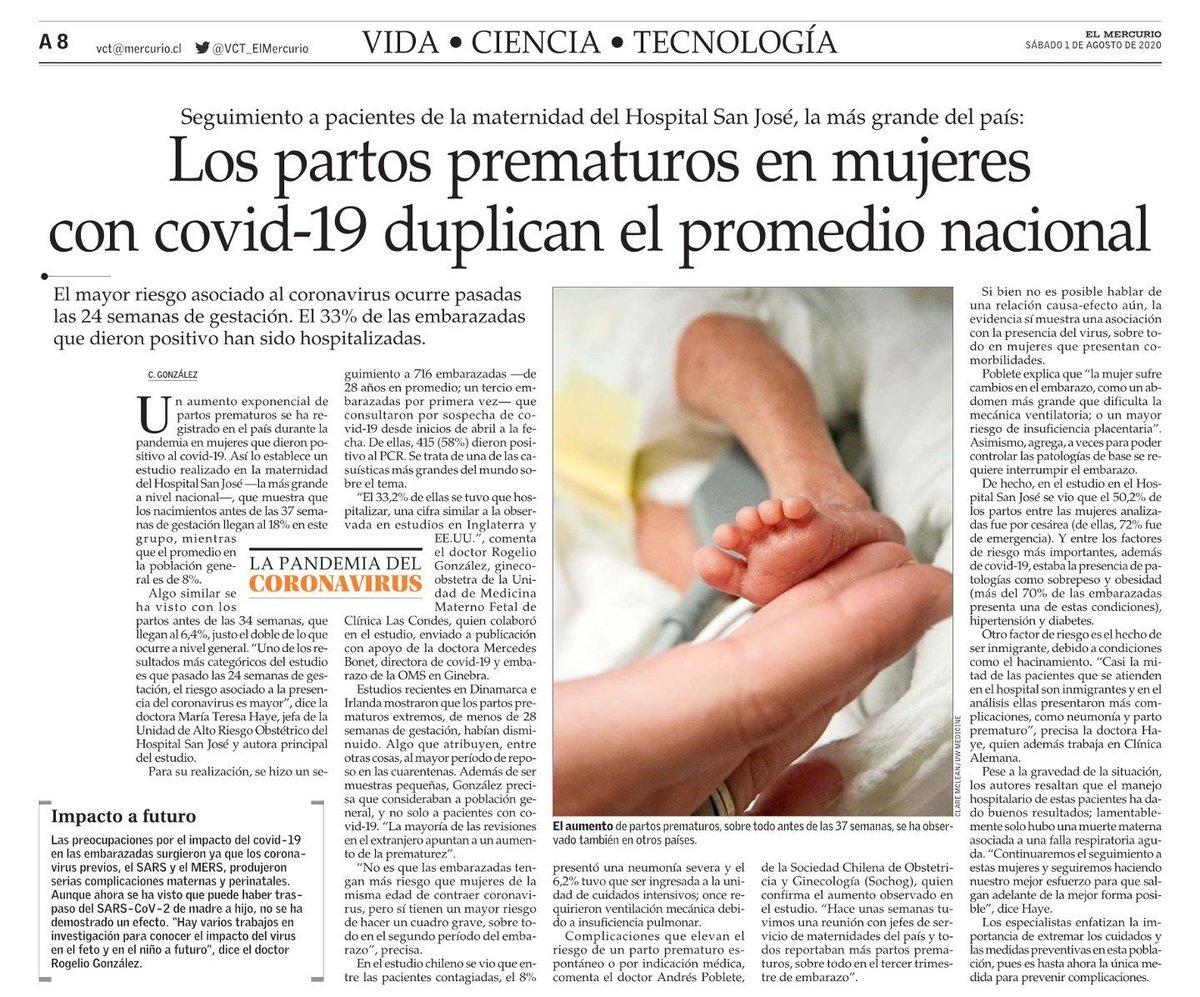 El dr. Rogelio González, gineco-obstetra de la Unidad de Medicina Materno Fetal de @cliniclascondes , comentó en @ElMercurio_cl  el exponencial aumento de partos prematuros registrados durante la pandemia en mujeres con Covid-19 positivo. Ver nota acá. https://t.co/lQuocVXw0A