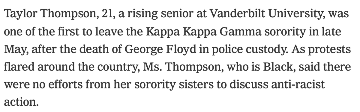 "@ezra_marc Fairly surprising to me that Vanderbilt, of all places, is at the forefront of this movement. In my day VU was a very ""Greek dominant"" campus; fraternities & sororities absolutely were the drivers of the social scene.  Also, KKΓ had no black members then. Change can be real. https://t.co/xNVviM4725"