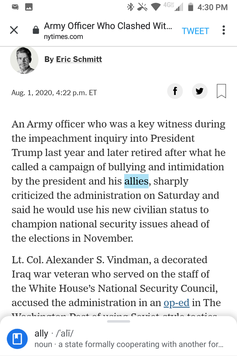 """@nytimes Ungrammatical subject-verb-splitting comma.  This one would be okay if you added one before """"and later retired."""" @EricSchmittNYT https://t.co/2sxiyM85Pz"""