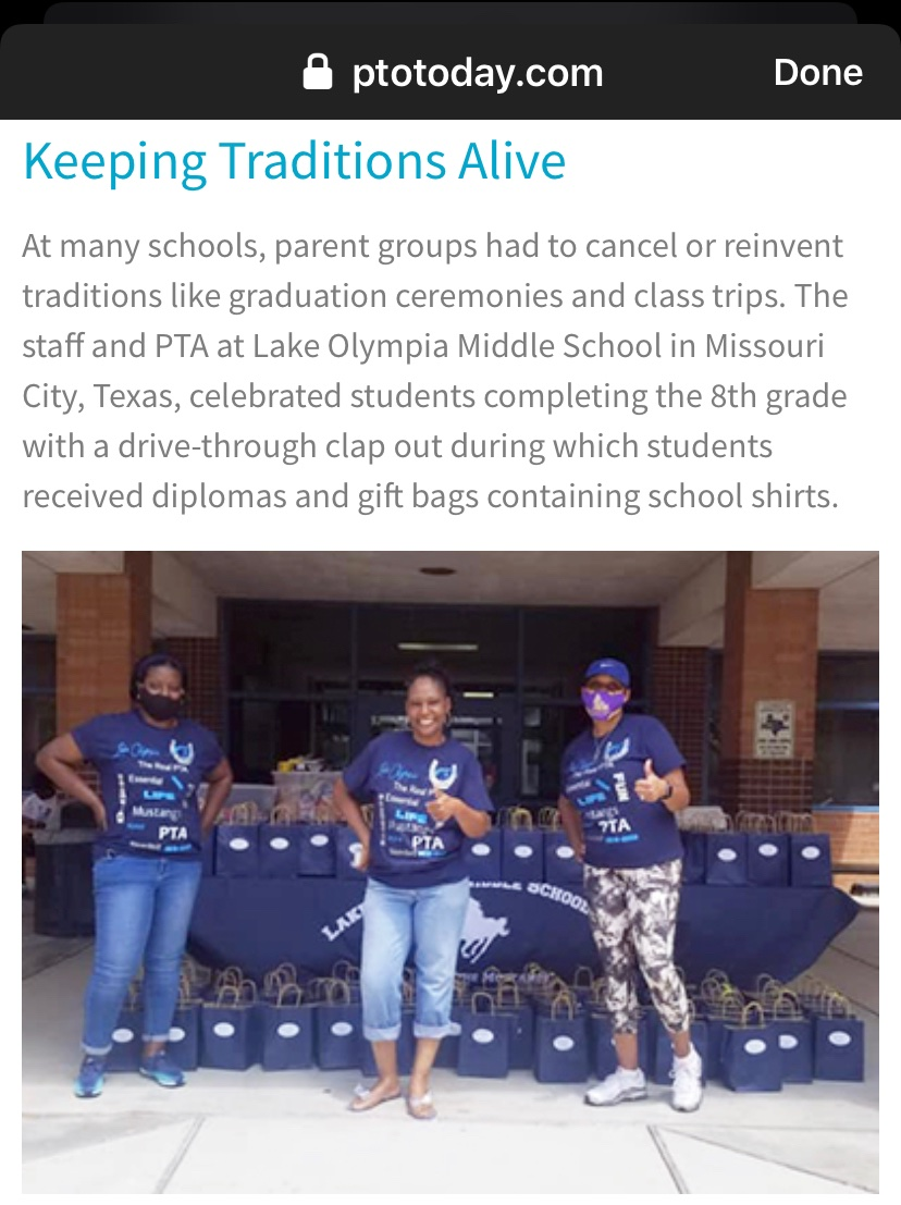 I'm proud to announce that @lomspta was recognized by @ptotoday for making the best out of Covid-19 for our 8th graders this school year 2010-20 @LOMSMustangs .pic.twitter.com/gMexkxqb3g