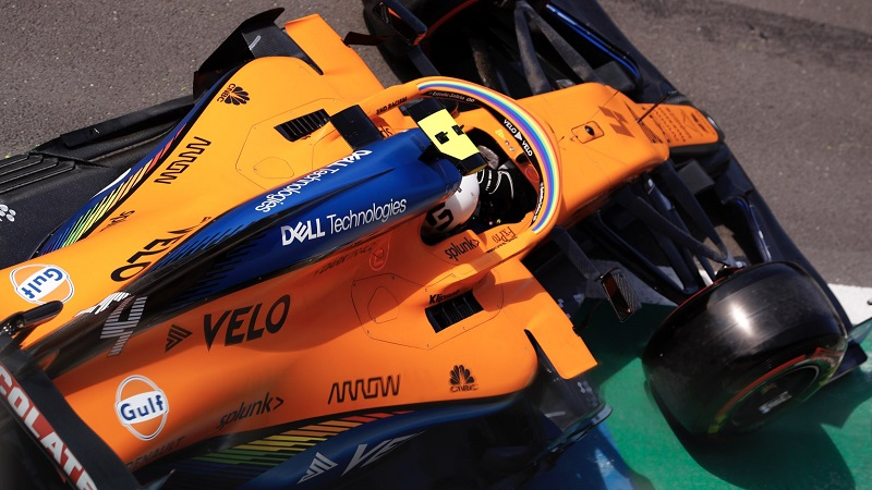 🏁 El logotipo de @GulfOilIntl ya se luce este fin de semana en el #BritishGP 🇬🇧 sobre la tapa del motor del @McLarenF1. La petrolera 🇺🇸 y el equipo de Woking 🏴 vuelven a unir sus caminos, como había ocurrido en los años '60, '70 y '90 en #F1, Can-Am y en las #LeMans24. ¡🟠😍🔵! https://t.co/tBTb221Nhe