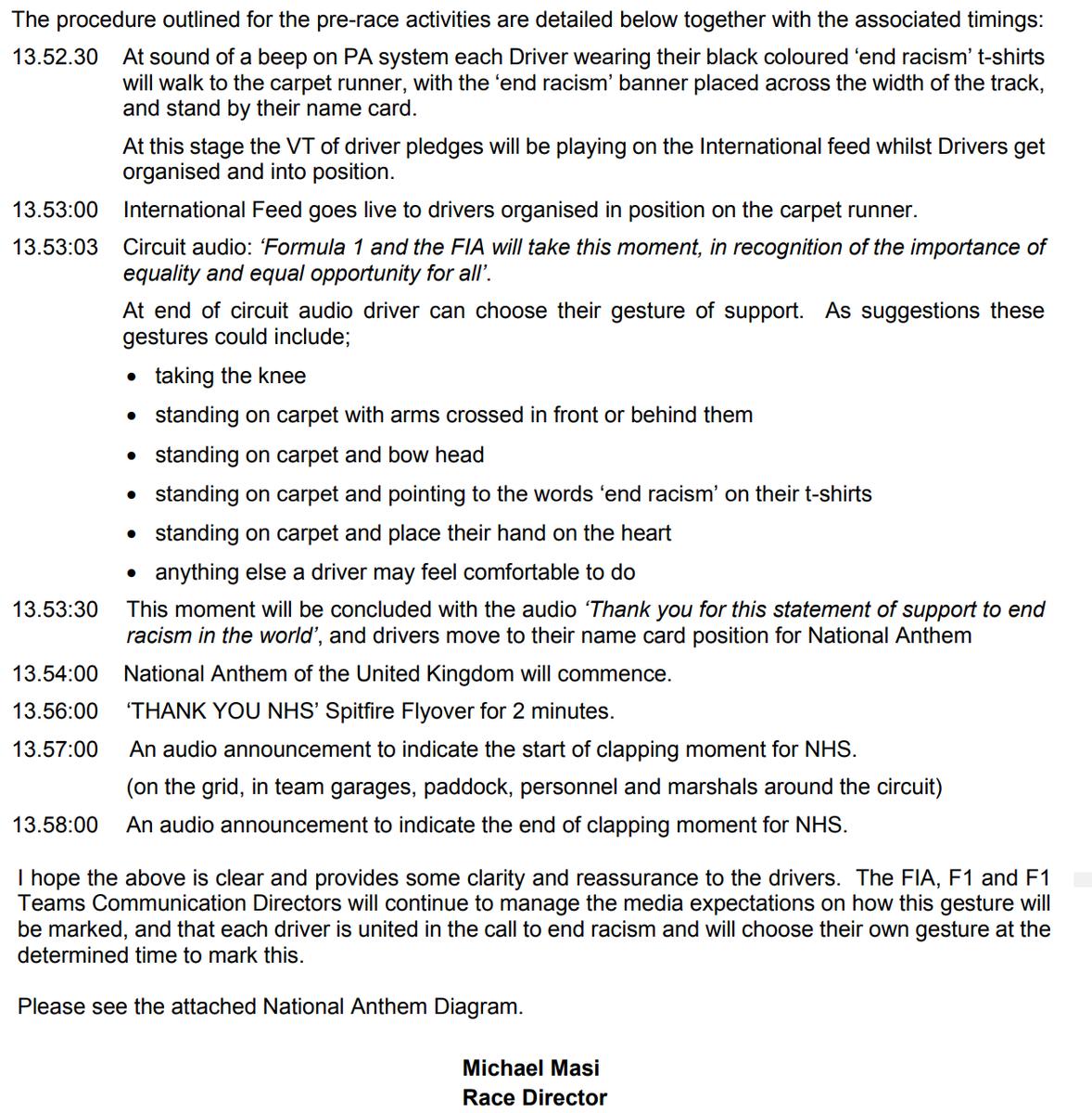 Habrá novedades en la ceremonia del himno del #BritishGP  El director de la FIA le envío a los pilotos las instrucciones y el itinerario para la ceremonia del himno, con las opciones que tienen de manifestarse contra el racismo y un minuto de aplausos para los servicios de Salud. https://t.co/H7o0SjM4qZ