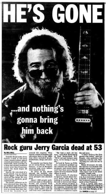 Happy birthday Jerry Garcia! Gone-but-not-forgotten brother. You were a great friend