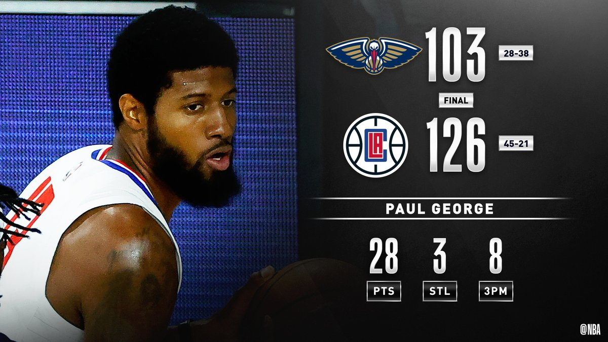 The @LAClippers set a franchise record, hitting 25 threes! #ClipperNation #WholeNewGame   Paul George: 28 PTS, 8 3PM Kawhi Leonard: 24 PTS  Reggie Jackson, JaMychal Green & Patrick Beverley: 3 3PM each https://t.co/SqJzXt1n2g