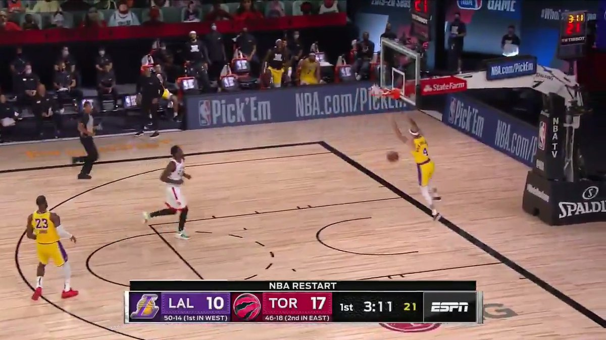 Defense leads to offense for Caruso and the Lakers 🗜 https://t.co/nhTJ5VWYz1