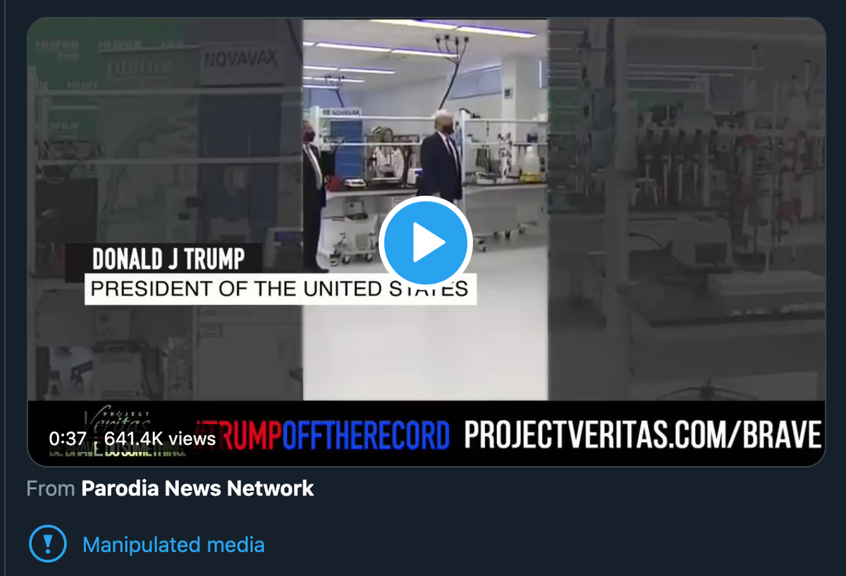 An important update on the fake Trump video I called out two days ago. The Associated Press have flagged it as fake and Twitter added a manipulated media warning to it (finally). So please be skeptical and try not to amplify unverified content. Otherwise we lose credibility. twitter.com/vegix/status/1…
