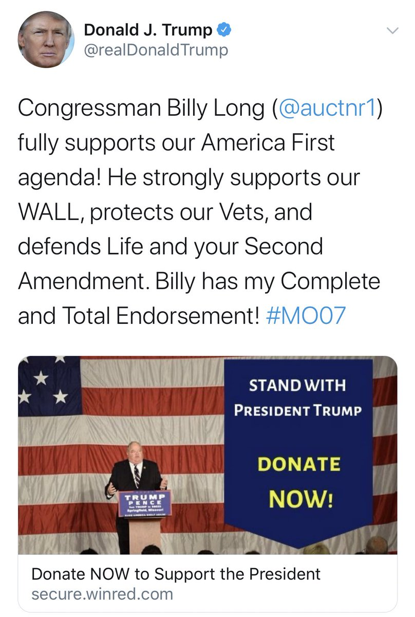 Trump's WinRed-link tweet tonight reminds me that the congressman who got elected where I'm from blocked me bc I was reporting on him too hard when I was 18. #tbt #MO07 https://t.co/3WN8sV6uFF