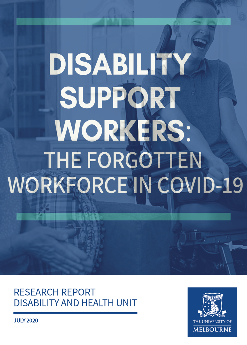 Study of #disability support workers. Led by @ash_mcallister - 90% can't physically distance - Half didn't get paid sick leave - Not confident w infection control - Competence with #PPE prob poor - Work in multiple places - Spreading in group homes already https://t.co/HCru2ttnmz https://t.co/b7vko1XgzT