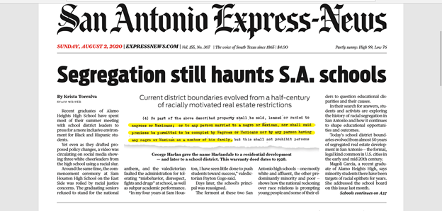 Sneak peek at top of Sundays @ExpressNews front page: Magisterial piece by @KMTorralva on San Antonios legacy of residential segregation and its enduring impact on educational opportunity. Subscribe: ExpressNews.com/coverage
