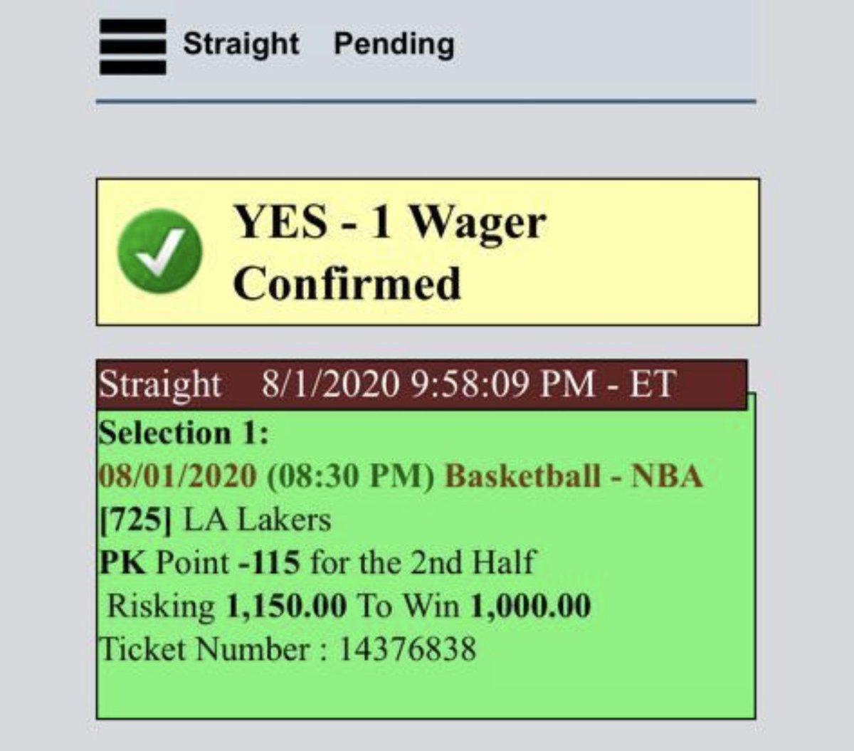 Final bet on the #lakers #LakersNation #Lakersvsraptorspic.twitter.com/sCzSkpo8L0