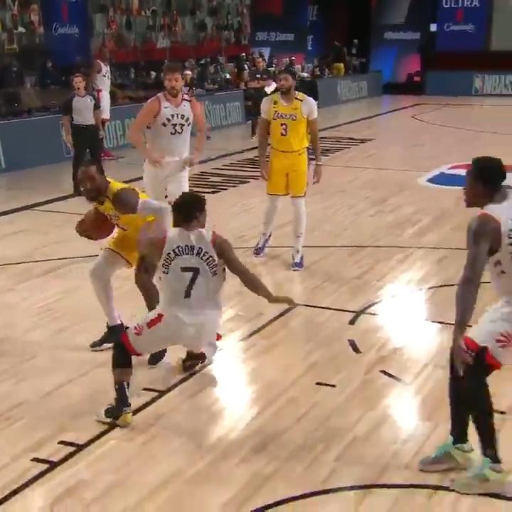 Kyle Lowry doing it all. 💪  @Raptors 70 @Lakers 64  Late 3Q on ESPN. #WholeNewGame https://t.co/NupJKrDwEF