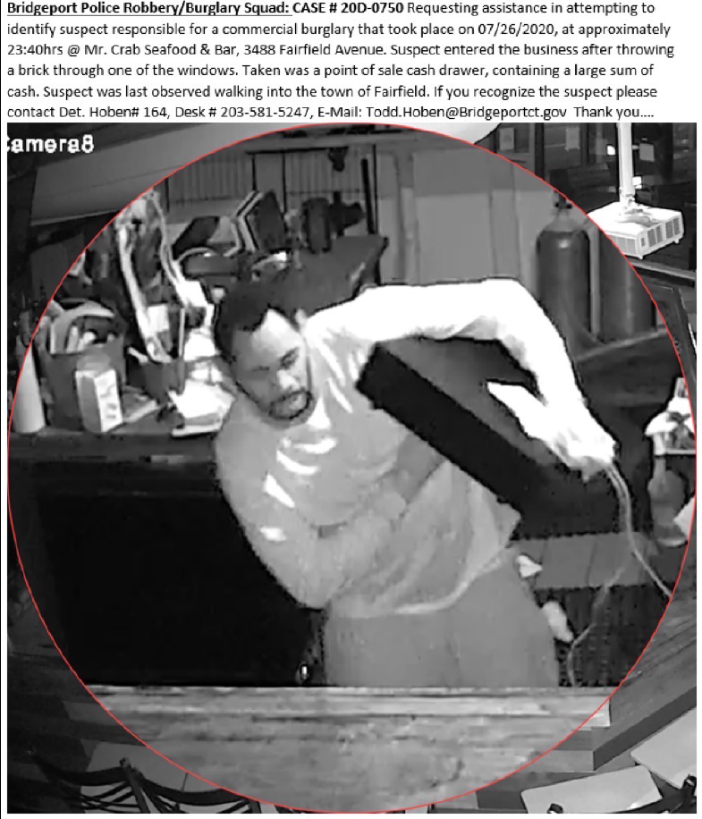 BPD Robbery/Burglary Squad: CASE #20D-0750 requesting assistance in attempting to identify suspect responsible for a commercial burglary that occurred on 07/ 26/20. If you recognize the suspect please contact Det. Hoben Desk# 203-581-5247 or E-Mail: Todd.Hoben@Bridgeportct.gov https://t.co/VEVX5bCACi
