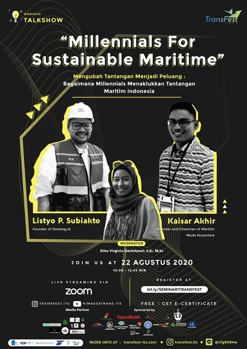 Event Surabaya On Twitter Transfest 2020 Present Webinar Transfest 2020 Millennials For Sustainable Maritime Saturday 22nd August 2020 Live Streaming On Zoom Youtube Himaseatrans Its Instagram Transfest Its