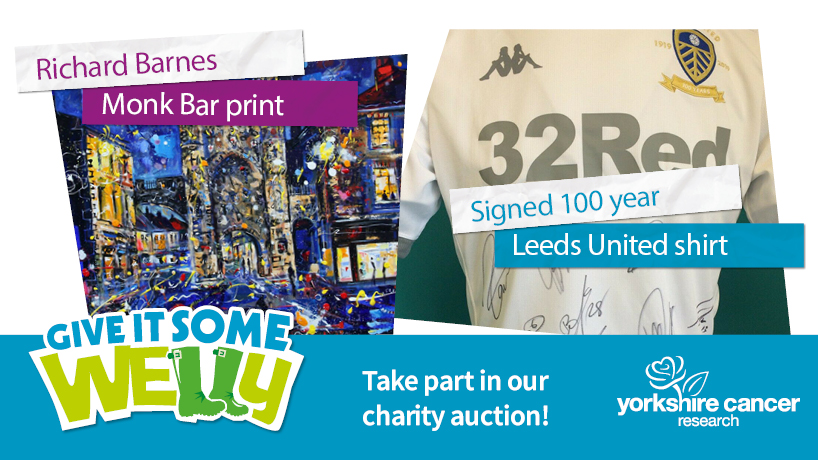 It's the final countdown! Our #GiveItSomeWelly auction finishes today at 6pm 👉   Help fund life-saving research, right here in Yorkshire 💙  There's still time to bid on some incredible items, from unique sporting memorabilia to #Yorkshire works of art.