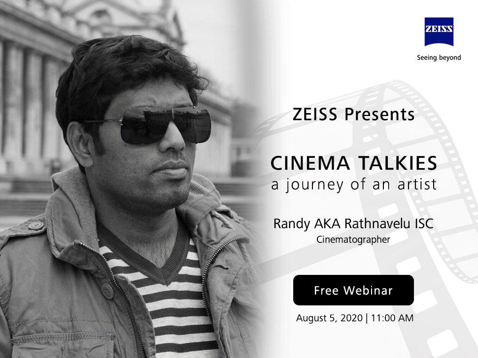 Cinema Talkies with ACE cinematographer @RathnaveluDop  Thank you @ZEISS_Group Registration link : https://www.bigmarker.com/zeiss1/Cinema-Talkies-with-R-Rathnavelu… #cinematography #filmmakers pic.twitter.com/U0tN6j6Ik8