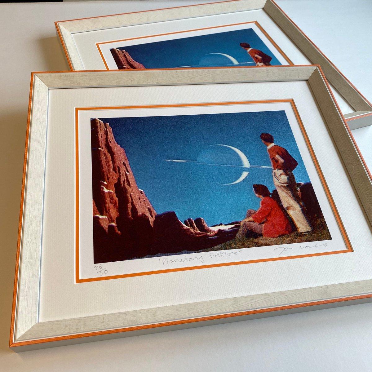 Two Planetary Folklore prints by Joe Webb framed in the lovely linea frame and truevue glass @4wallsbyLJUK #larsonjuhl   #framing #pictureframing #custompictureframing #customframing #woodframing #bespokeframing #framingart #oakframing #artframing #uckfield #sussex #wealdenpic.twitter.com/FOKGiDrfmq