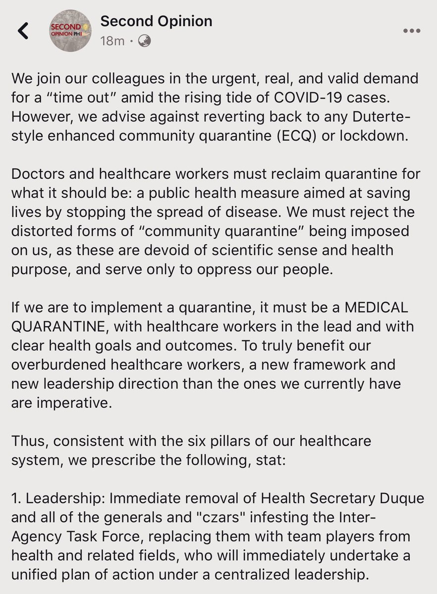 LOOK: Doctors' group SECOND OPINION calls on colleagues to reclaim medical quarantine, reject Duterte-style lockdowns Prescribes 6 steps for more effective COVID19 response