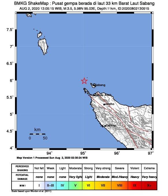 Daryono Bmkg V Twitter Kota Sabang Aceh Diguncang Gempa Tektonik Berkekuatan M 3 5 Berpusat Di Laut Pada Jarak 33 Km Arah Baratlaut Kota Sabang Aceh Pada Kedalaman 11 Km Dipicu Aktifitas Sesar Aktif