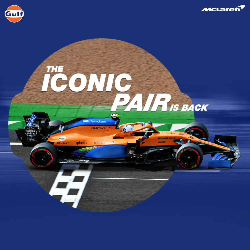 Catch the iconic duo @McLarenF1 and Gulf back in action today at the British Grand Prix 2020! Together, we have a secret formula for a power packed performance. Show your love and excitement in the comments below! 🤩  #GulfXMcLaren #GulfOilInternational #McLaren https://t.co/VLa9S4CWit