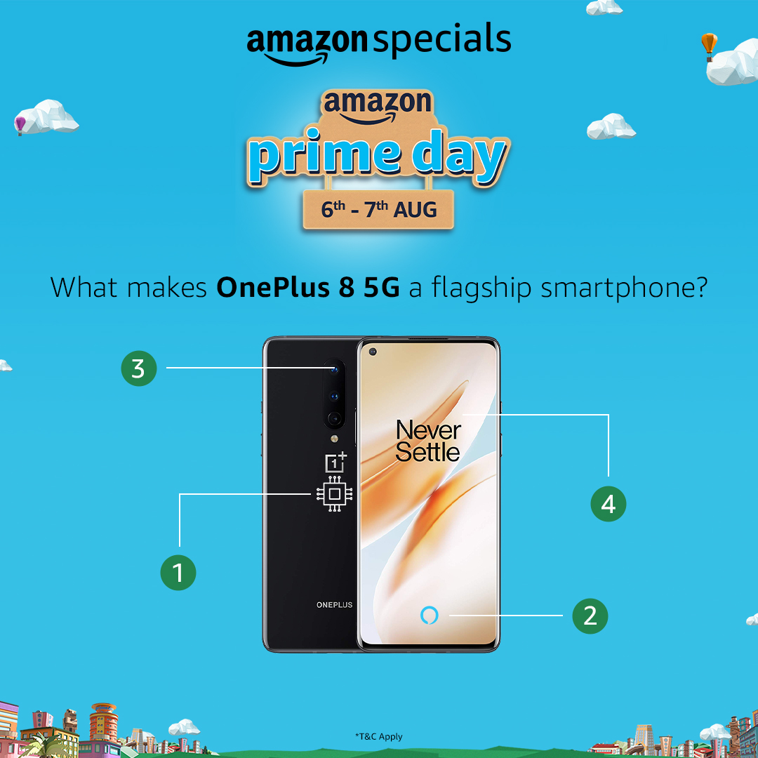 #ContestAlert - The biggest joy ride with a phone giveaway is here! All you have to do is name the correct specs of OnePlus 8 5G as marked in the post, share it with us @AmazonIN using #AmazonSpecials #OnePlus85G, and you can bag the smartphone! T&C - https://t.co/PgmXaYMeKn https://t.co/Bf3VOU19MX