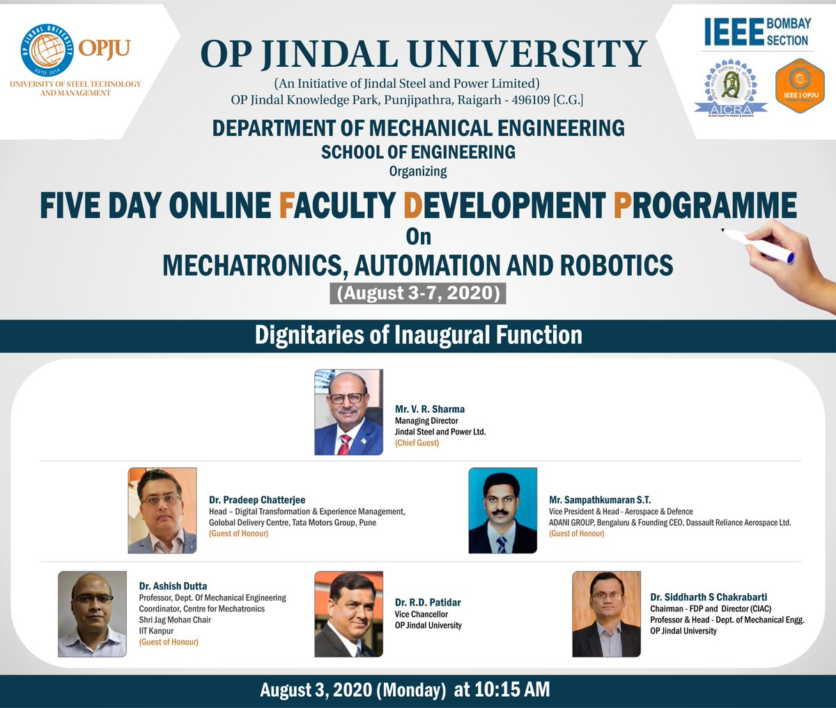 Embarking our FDP on with the IEEE Bombay Section and All India Council of Robotics and Automation (AICRA) in the Presence of our esteemed Guests.   We invite you to be the part of the inaugural session on August 3, 2020 at 10:15 AM Live on Facebook. https://t.co/wzyMvD81ah