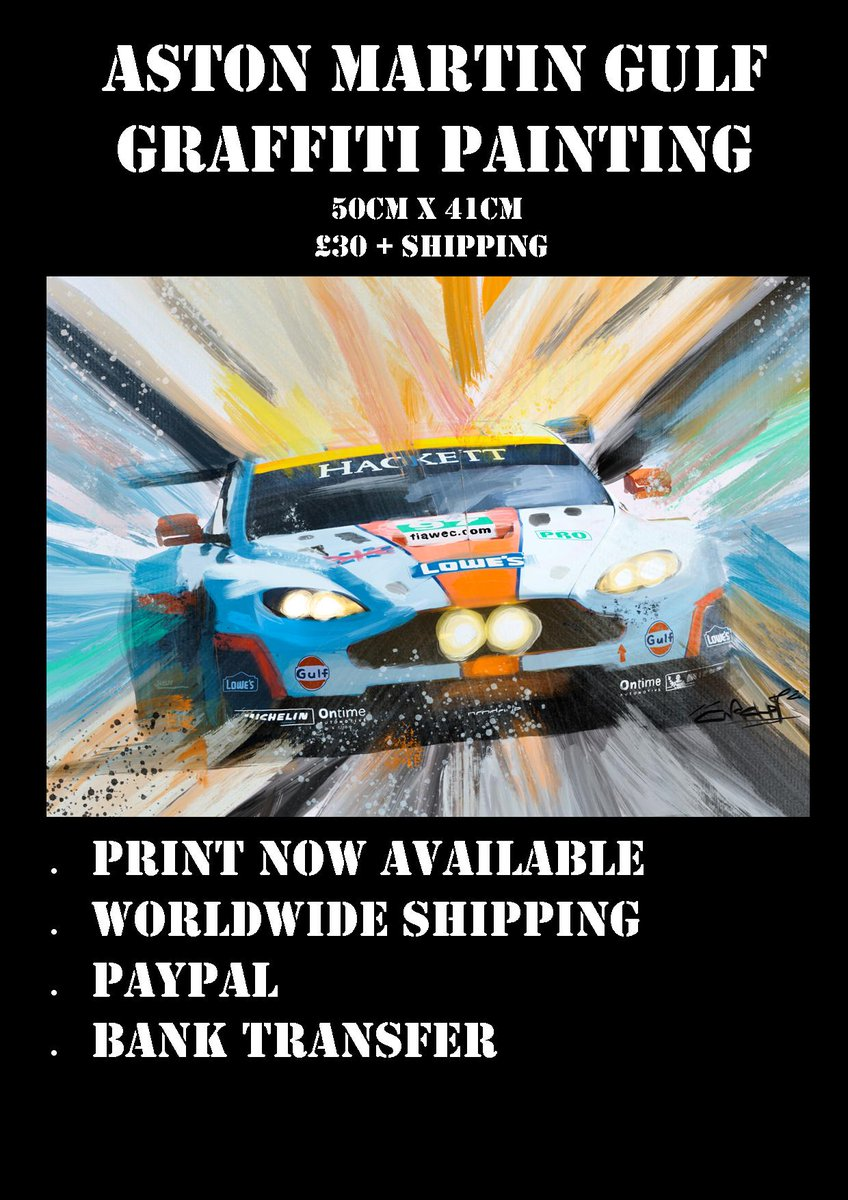 https://t.co/54jjhBdSmc Check out our Brand New Shop, Full of awesome Art and Merchandise. #LeMans24 #AstonMartin #Gulfracing #LeMans24fans #WEC #F1 #Formula1 #GulfMotorsport #AsonMartin #EnduranceRacing #Spa24 #Spa6Hours https://t.co/waspAaIBY7