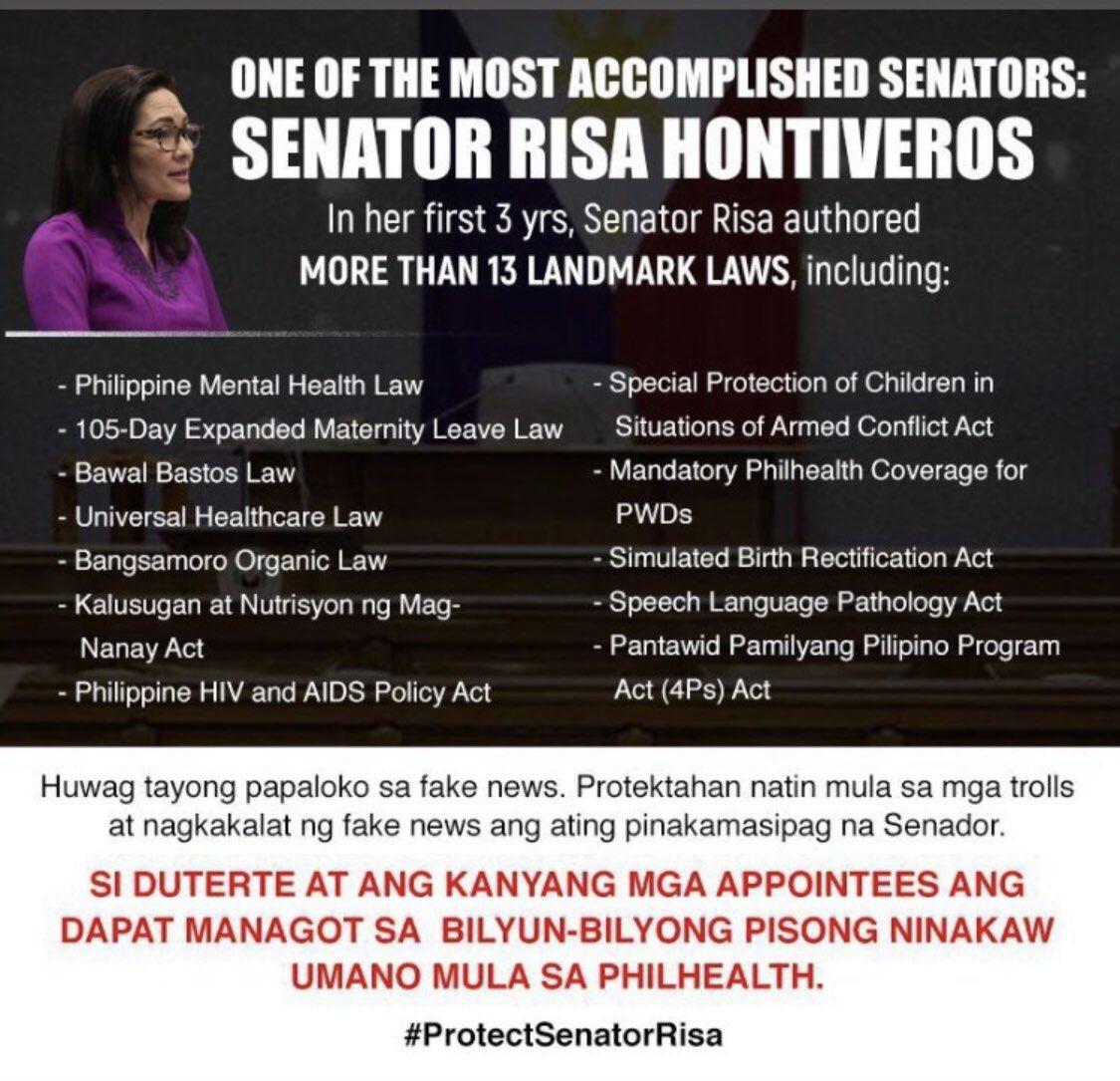 A favourite target of Fake News. But my Senator will not stand down. @risahontiveros @PinoyAkoBlog @macoydubs1 @hecklerforever8  #ProtectSenatorRisa #NotoAntiTerrorLaw #NOtoABSCBNFranchiseDenial #NoToDeathPenalty #YestoMassTesting  #PandemyaAngKalabanHindiMamamayanpic.twitter.com/4EF1wIGc81