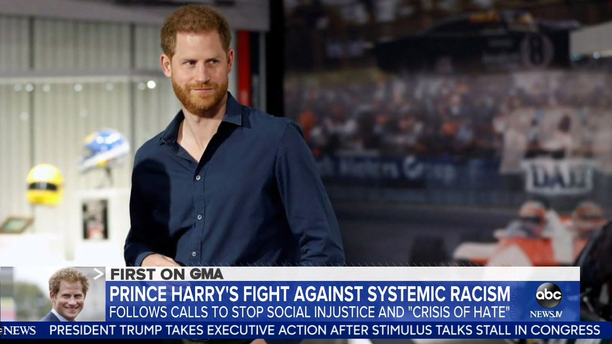 """Prince Harrys fight against systemic racism: Harry and Meghan have also been calling on the heads of corporations to reconsider supporting certain social media platforms they say are creating a """"crises of hate."""" @Zohreen reports. gma.abc/3fBwKuk"""
