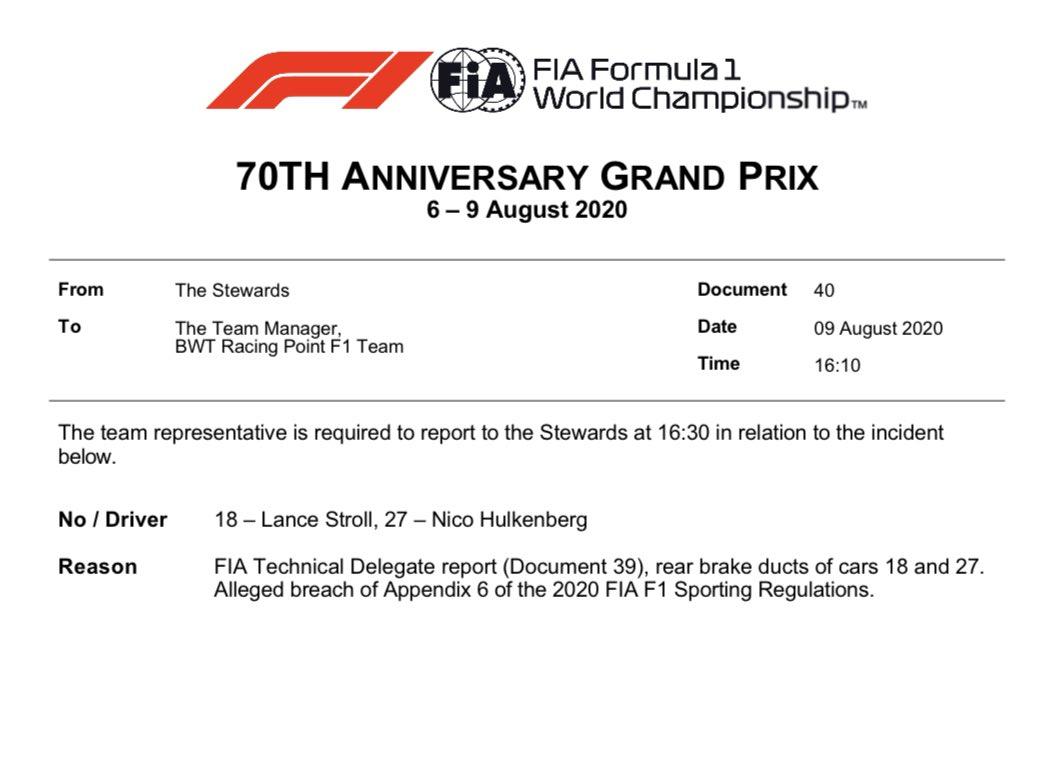 Nueva protesta de Renault sobre la legalidad de los ductos de freno traseros del Racing Point, en línea con su intención de apelar la decisión de FIA del viernes pasado. #F170 https://t.co/J6HN09oHoU
