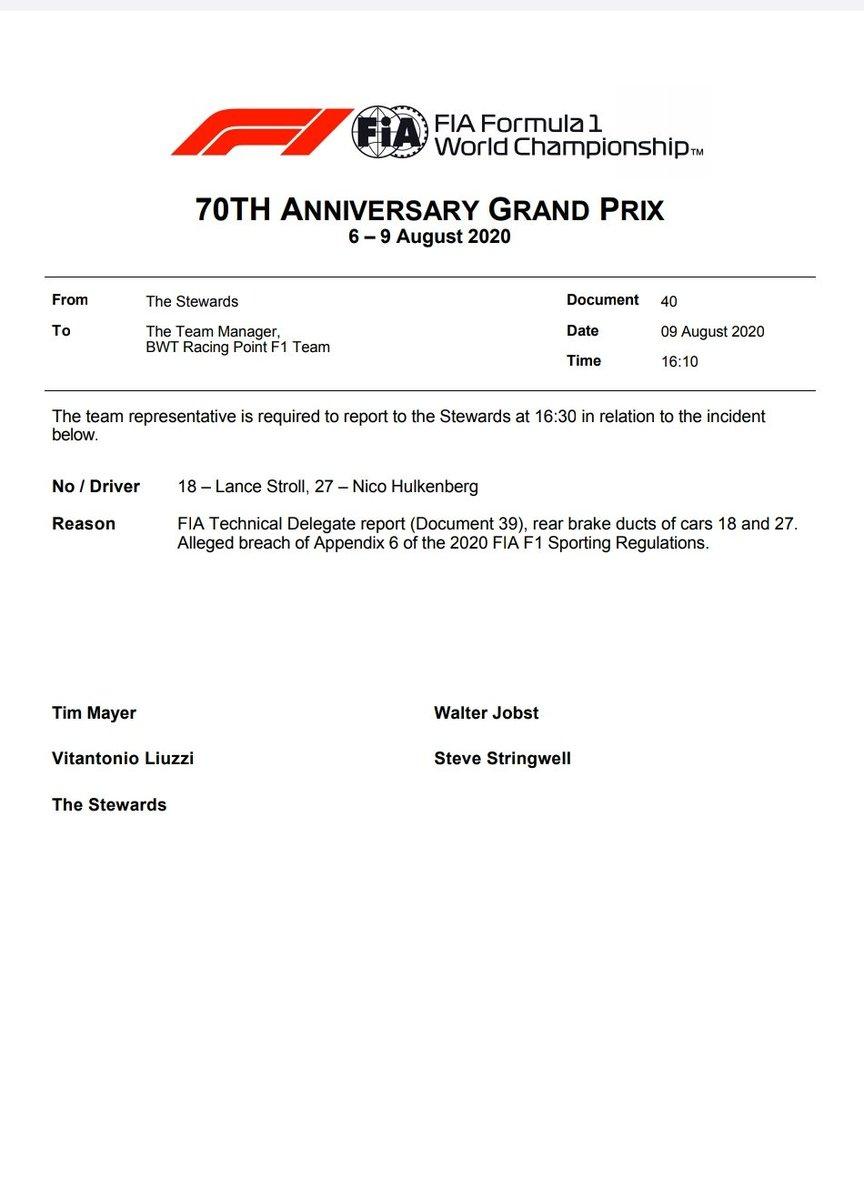 """Y los pilotos de Racing Point han sido llamados a declarar junto a un representante del equipo.  """"La historia podría llegar hasta final de temporada"""" dice Cyril Abiteboul en entrevista. https://t.co/6ZlXC61gJY"""