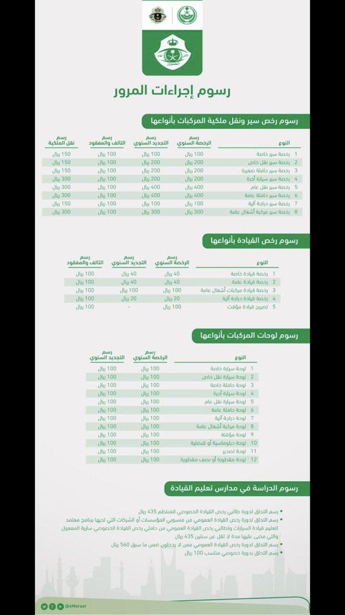 المرور السعودي On Twitter مرحبا بك عدم تجديد الرخصة في وقتها وبعد انتهاء مهلة 60 يوم يفرض عليك غرامة مالية قدرها 100 ريال عن كل سنة تطويف كما يمكنك الإطلاع على
