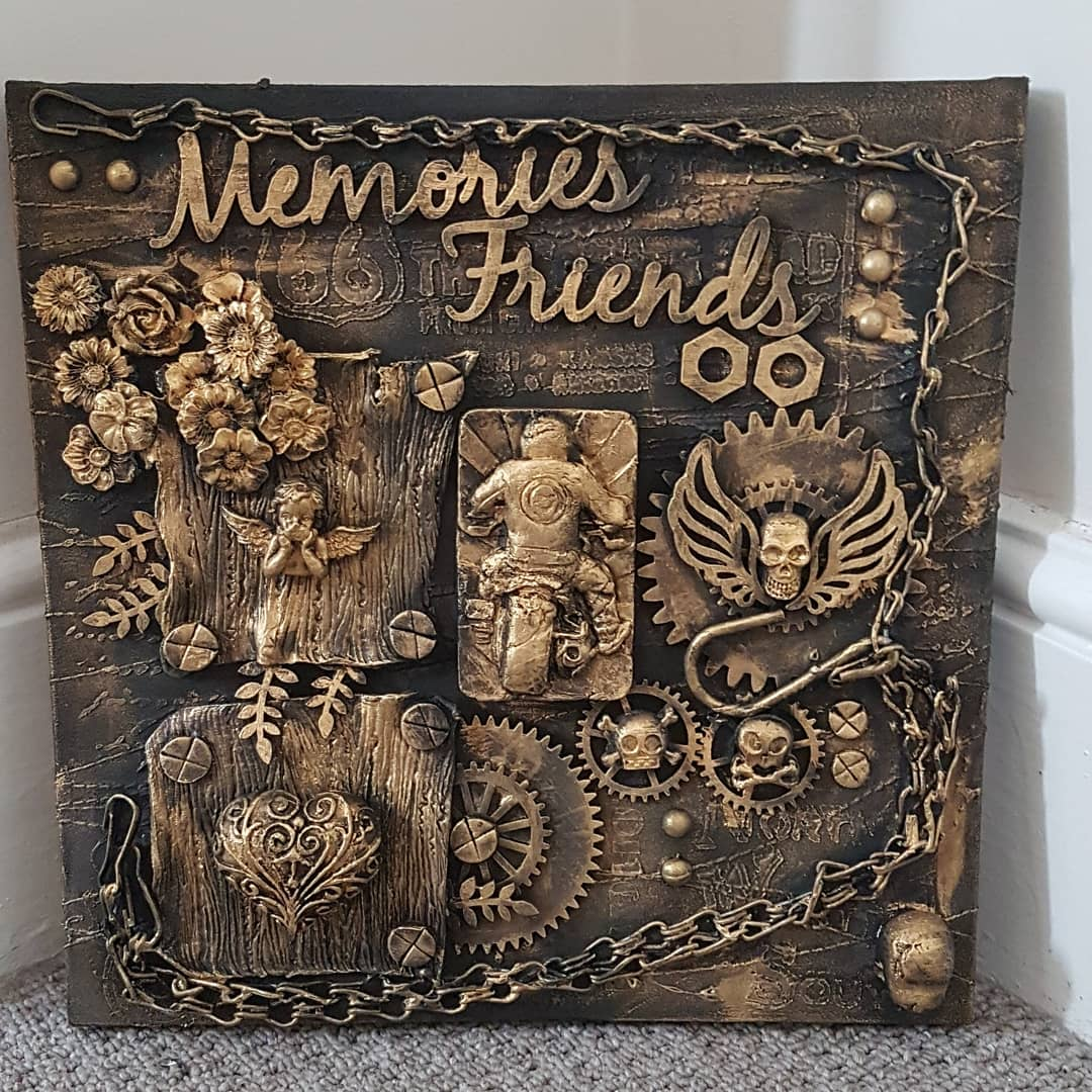 #UKSmallBiz #Art #modernart #embellishments #diecuts #Ramsgate #lovebikes #quirkyhome #Steampunk #localbusiness #mixedmedia #modernart  12 x 12 inches set on canvas Handmade by myself Totally Wired For Steampunk  £35.00 plus postage