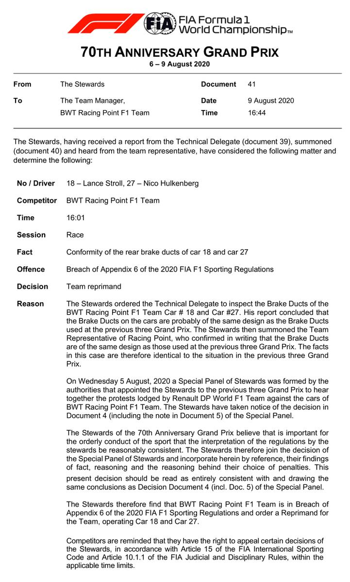 """La FIA le ha impuesto una reprimenda a Racing Point por el uso de sus ductor de frenos """"ilegales"""" y lo seguirán haciendo mientras los demás equipos no se dejen de quejar, pues consideran que deberían ser sancionados con mayor rigor.  Reprimenda = Palmaditas en la espalda. https://t.co/QA8WV8YTPK"""