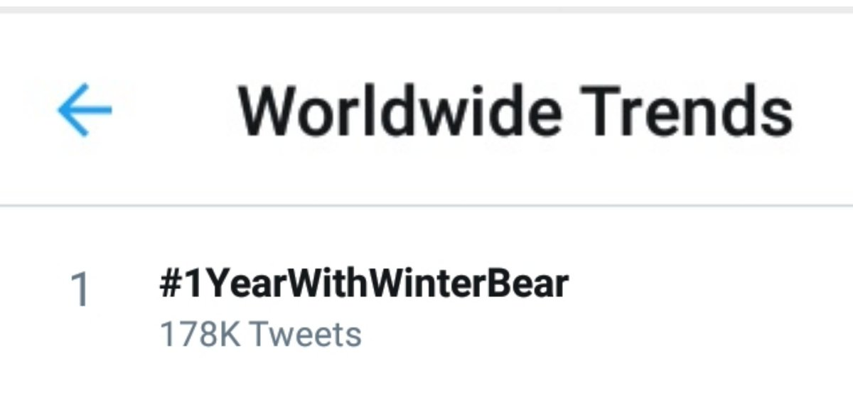 🌐 #1YearWithWinterBear is now trending #1 Worldwide! 💜 https://t.co/cjZQa4Uqwb