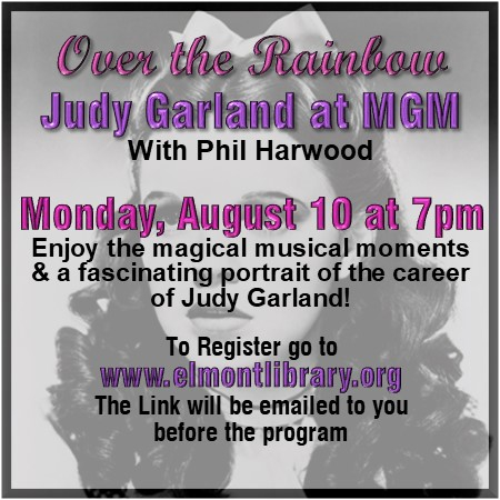 Enjoy the magical musical moments of Judy Gardland.  Register at http://www.elmontlibrary.org  #elmontmemoriallibrary #librariesoftheworld #weareopen #cantwaittoseeyou #librariesrock #wearamask #6ftapartpic.twitter.com/yMMkHWJxmS