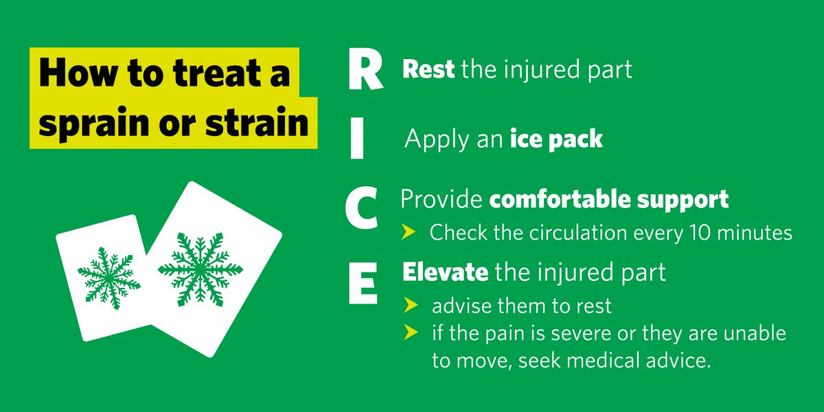 Did you pull the bike or trainers out to make the most of the #Heatwave this weekend? If you've ended up with a sprain or strain, make sure to use RICE #FirstAid pic.twitter.com/Wa59e1wv8w