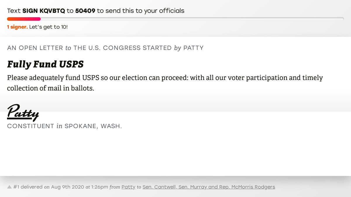 """🖋 Sign """"Fully Fund USPS"""" and I'll deliver a copy to your officials: https://t.co/RmeOYAEvi2  📨 No. 1 is from Patty to @SenatorCantwell, @PattyMurray and @CathyMcMorris #WA05 #waelex #VoteByMail https://t.co/SWDILFxw9W"""