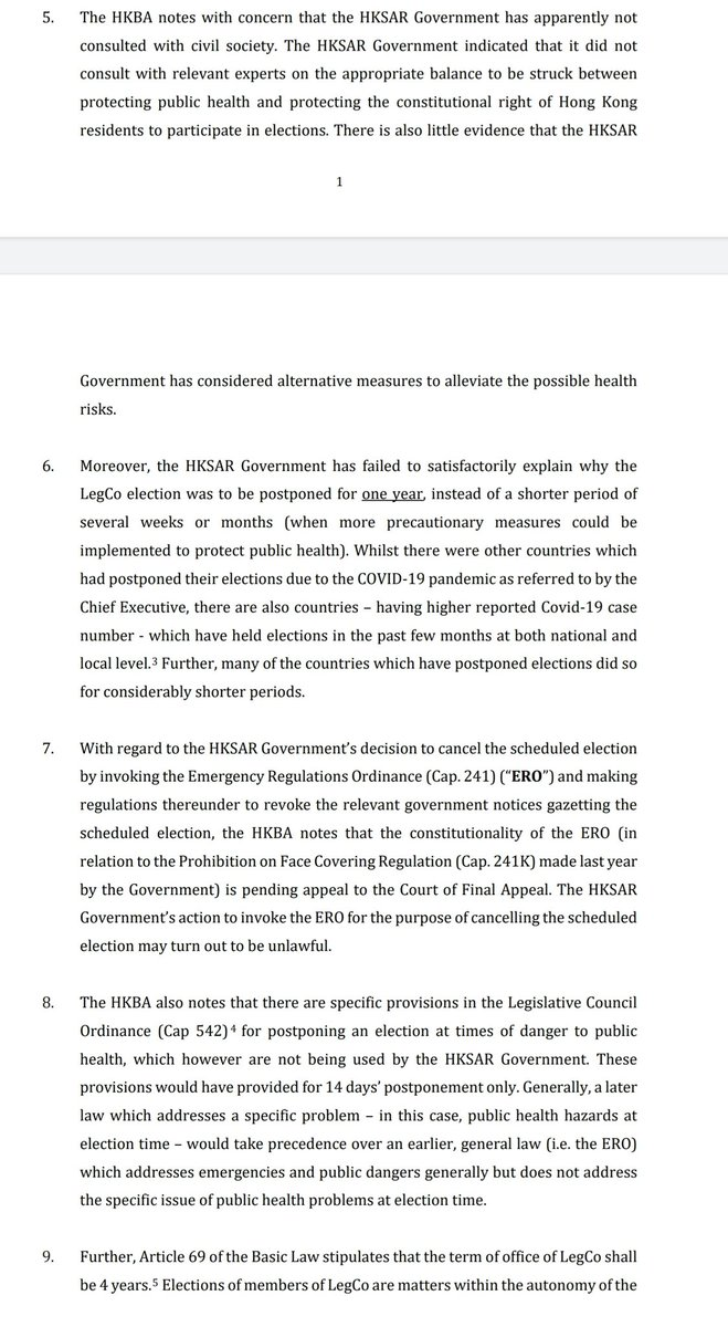The HK Bar Association challenges gov in its latest statement, saying its decision to postpone Legco election was made without consultation with experts and society, and has not included a possible shorter adjournment under a more specific election-related provision https://t.co/SEQ1OZ3UrQ