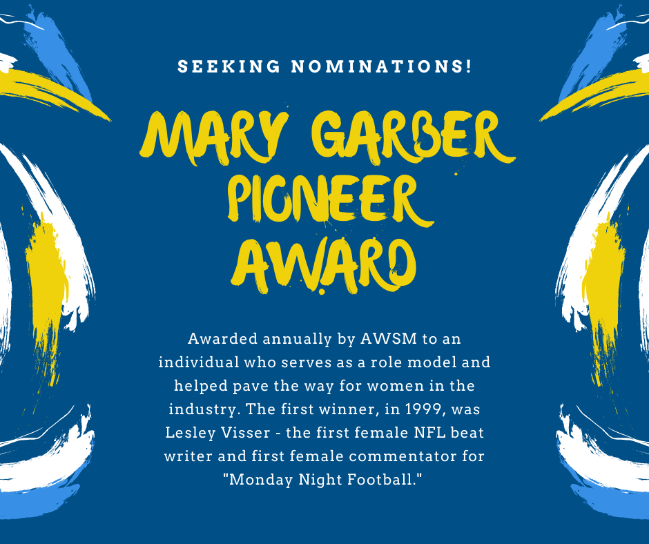 #AWSM is seeking nominations for the next Mary Garber Pioneer Award, which honors individuals who have served as role models and paved the way for women in the industry. Send nominations to awsmboard@gmail.com by August 14.   More info on the award here: https://t.co/7JVo5MzApq https://t.co/pLDyFbyMF6