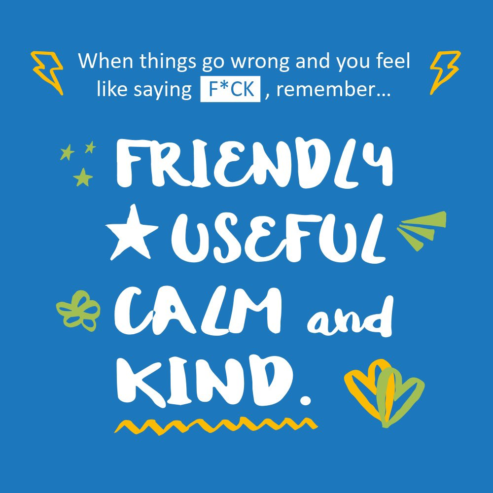 When things go wrong and you feel like saying F*CK, remember… Friendly, Useful, Calm & Kind 💕 actionforhappiness.org/friendly-usefu…
