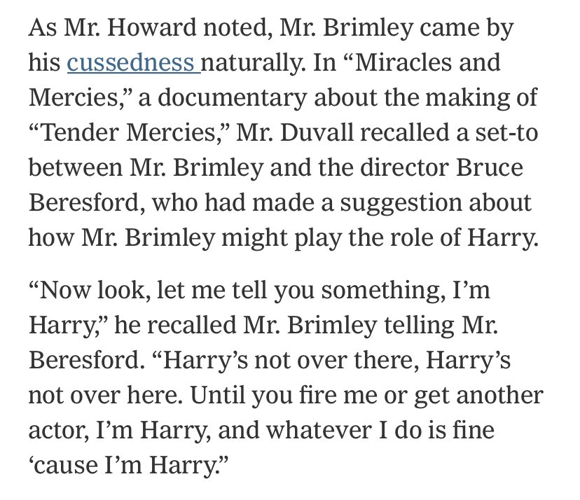 """I know he played down being an """"actor,"""" but this is one of the most wonderfully actory things an actor can do. RIP, Wilford Brimley. https://t.co/QQ8LH7Q5aa https://t.co/gx3doULM4e"""