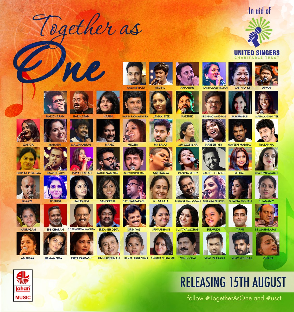 #TogetherAsOne - 65 singers from South India present a reprise of the @arrahman classic! RELEASE DATE: 15th AUG 2020 TogetherAsOne song marks the start of @usctoffical (United Singers Charitable Trust), an initiative by Singers to support South Indian musician's community! #USCT