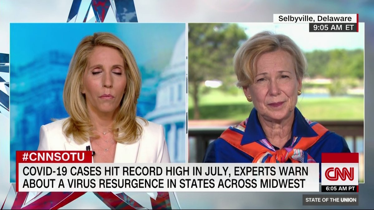 """Dr. Deborah Birx says, """"we are in a new phase"""" of the coronavirus pandemic adding, """"This epidemic right now is different and it's ... more widespread and it's both rural and urban"""" #CNNSOTU https://t.co/w09X9GrhL0"""