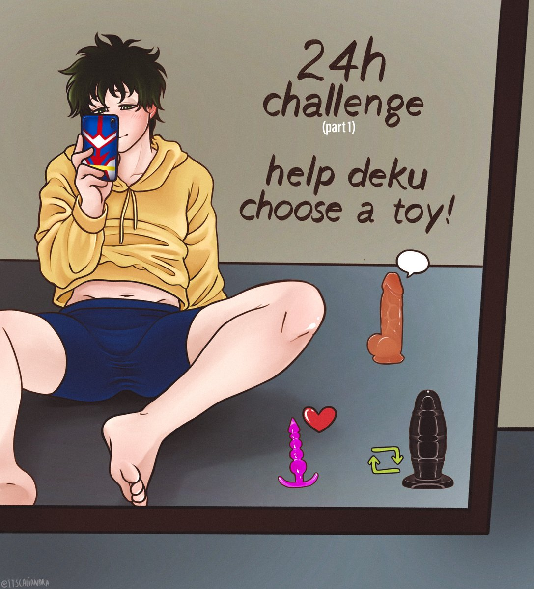 Who wants to help Deku choose his toy... Im starting a little #bottomdeku challenge, and depending on how this goes, there could be part 2 and 3 🤭 If by tomorrow this twees has more... Deku will choose: ❤️ Pink beads toy✨ 🗨️ A decent size dildo✨ 🔄 A big size dildo✨ #nsfw