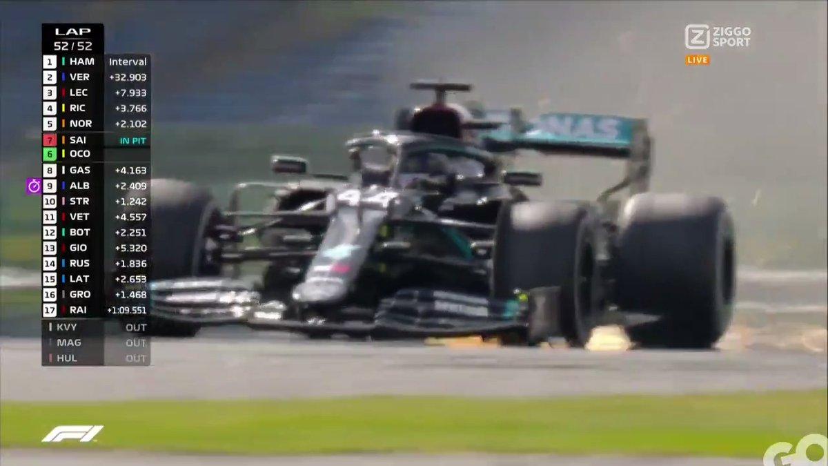 𝗪𝗔𝗧 𝗘𝗘𝗡 𝗦𝗟𝗢𝗧𝗙𝗔𝗦𝗘! 😱 Lewis Hamilton krijgt een lekke band in de laatste ronde 💥 Max jaagt op P1 voor wat hij waard is, maar de kapotte Mercedes finisht als eerste... 😳  #ZiggoSportF1 #F1 #BritishGP 🇬🇧 https://t.co/50bYQcT4ky